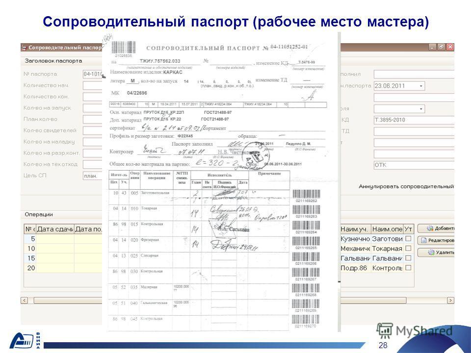 28 Сопроводительный паспорт (рабочее место мастера)