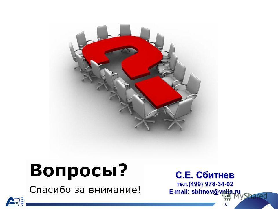 33 С.Е. Сбитнев тел.(499) 978-34-02 E-mail: sbitnev@vniia.ru