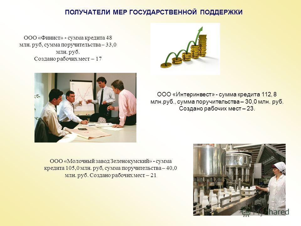 ПОЛУЧАТЕЛИ МЕР ГОСУДАРСТВЕННОЙ ПОДДЕРЖКИ ООО «Финист» - сумма кредита 48 млн. руб, сумма поручительства – 33,0 млн. руб. Создано рабочих мест – 17 ООО «Интеринвест» - сумма кредита 112, 8 млн.руб., сумма поручительства – 30,0 млн. руб. Создано рабочи