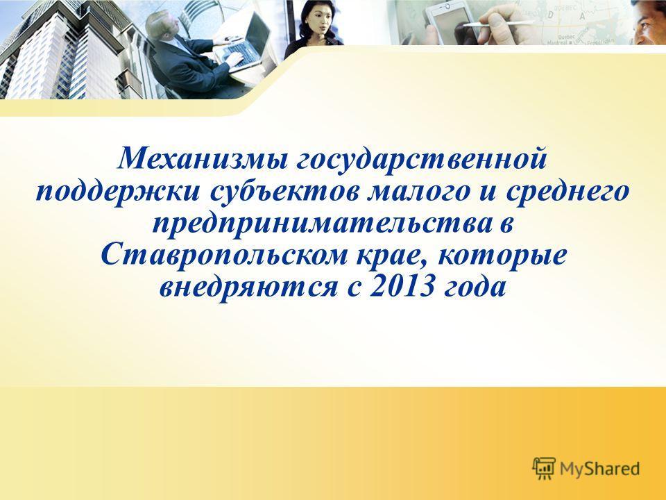 Механизмы государственной поддержки субъектов малого и среднего предпринимательства в Ставропольском крае, которые внедряются с 2013 года