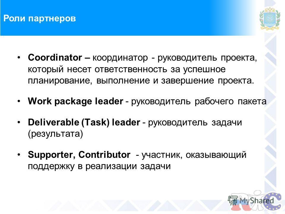 Роли партнеров Coordinator – координатор - руководитель проекта, который несет ответственность за успешное планирование, выполнение и завершение проекта. Work package leader - руководитель рабочего пакета Deliverable (Task) leader - руководитель зада