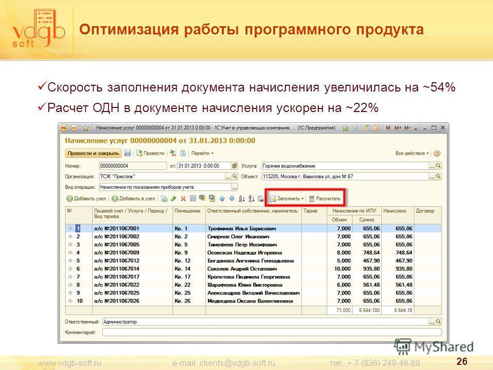 26 www.vdgb-soft.ru e-mail: clients@vdgb-soft.ru тел. + 7 (836) 249-46-89 Оптимизация работы программного продукта Скорость заполнения документа начисления увеличилась на ~54% Расчет ОДН в документе начисления ускорен на ~22%