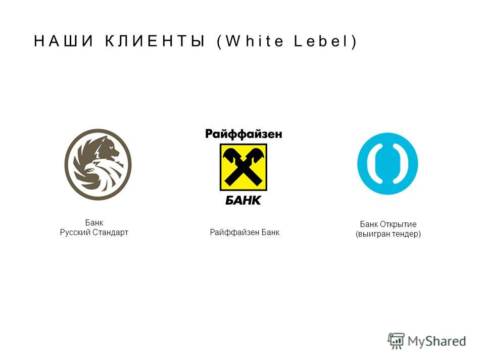 НАШИ КЛИЕНТЫ (White Lebel) Банк Русский Стандарт Райффайзен Банк Банк Открытие (выигран тендер)