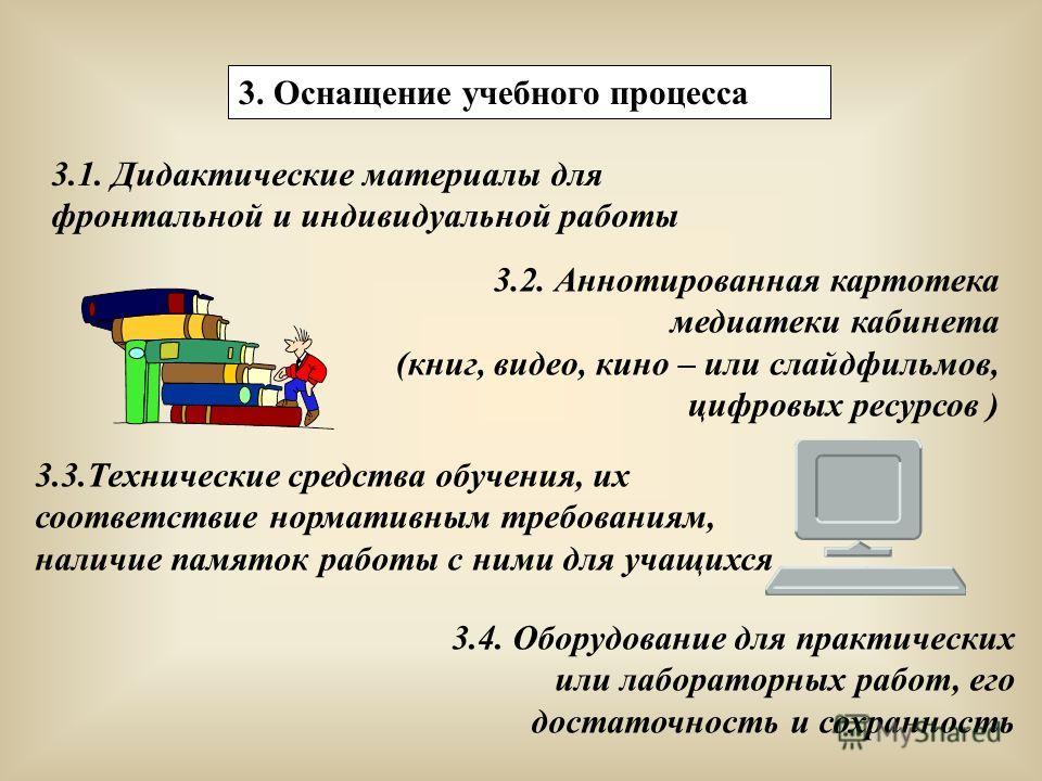 3. Оснащение учебного процесса 3.1. Дидактические материалы для фронтальной и индивидуальной работы 3.2. Аннотированная картотека медиатеки кабинета (книг, видео, кино – или слайд фильмов, цифровых ресурсов ) 3.3. Технические средства обучения, их со