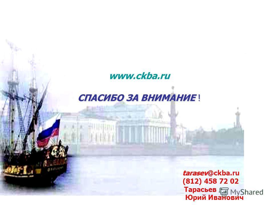 www.ckba.ru СПАСИБО ЗА ВНИМАНИЕ ! tarasev tarasev@ckba.ru (812) 458 72 02 Тарасьев Юрий Иванович