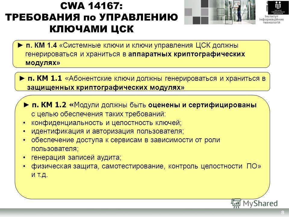 п. КМ 1.1 « Абонентские ключи должны генерироваться и храниться в защищенных криптографических модулях» CWA 14167: ТРЕБОВАНИЯ по УПРАВЛЕНИЮ КЛЮЧАМИ ЦСК п. КМ 1.4 «Системные ключи и ключи управления ЦСК должны генерироваться и храниться в аппаратных к