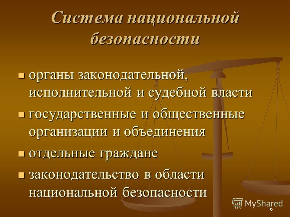 6 Cистема национальной безопасности органы законодательной, исполнительной и судебной власти органы законодательной, исполнительной и судебной власти государственные и общественные организации и объединения государственные и общественные организации
