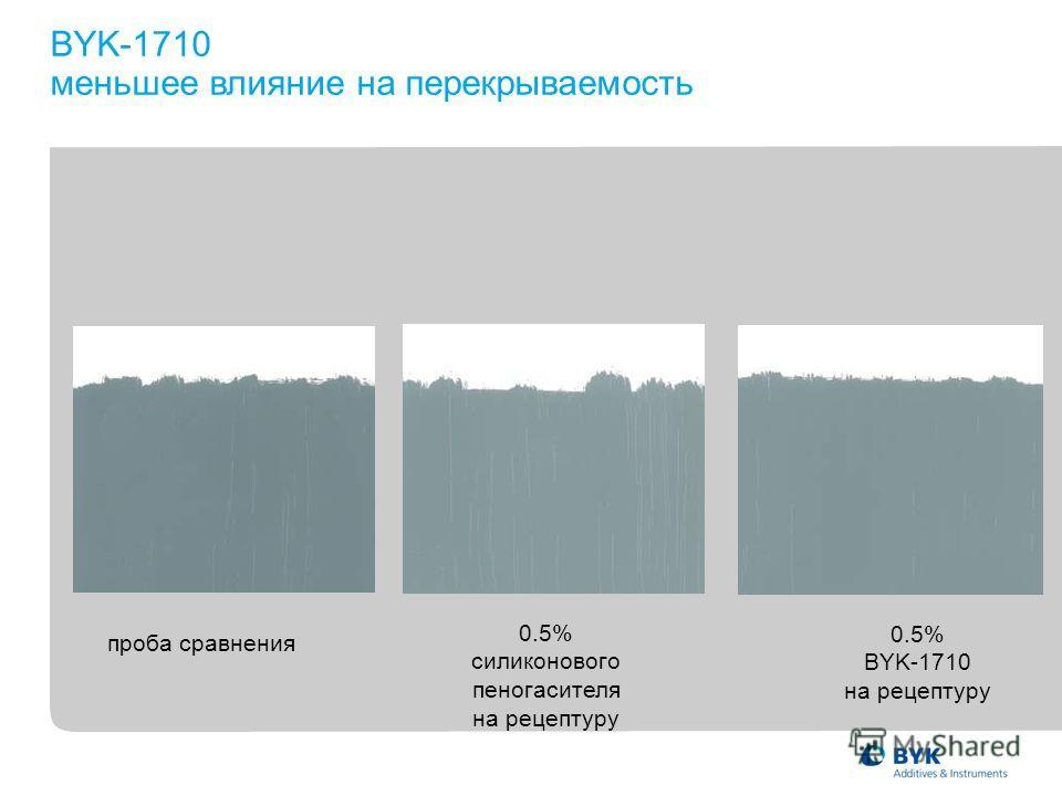 0.5% силиконового пеногасителя на рецептуру 0.5% BYK-1710 на рецептуру проба сравнения BYK-1710 меньшее влияние на перекрываемость