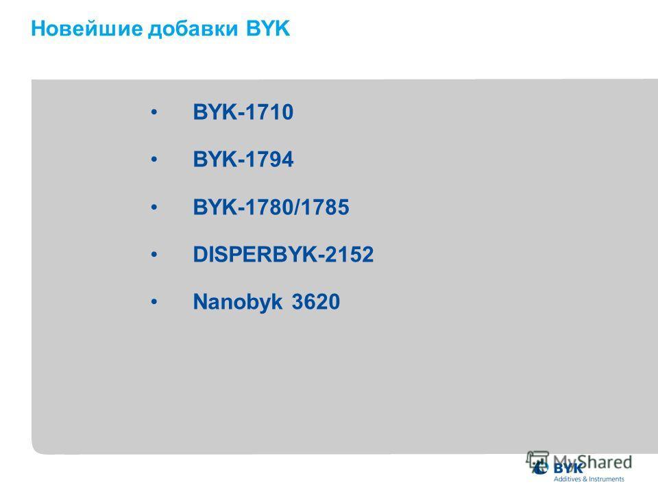 BYK-1710 BYK-1794 BYK-1780/1785 DISPERBYK-2152 Nanobyk 3620 Новейшие добавки BYK