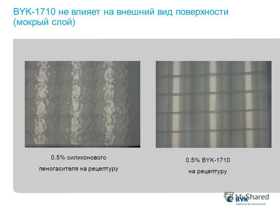 0.5% силиконового пеногасителя на рецептуру 0.5% BYK-1710 на рецептуру BYK-1710 не влияет на внешний вид поверхности (мокрый слой)