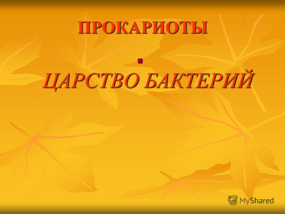 ЦАРСТВО БАКТЕРИЙ ЦАРСТВО БАКТЕРИЙ ПРОКАРИОТЫ