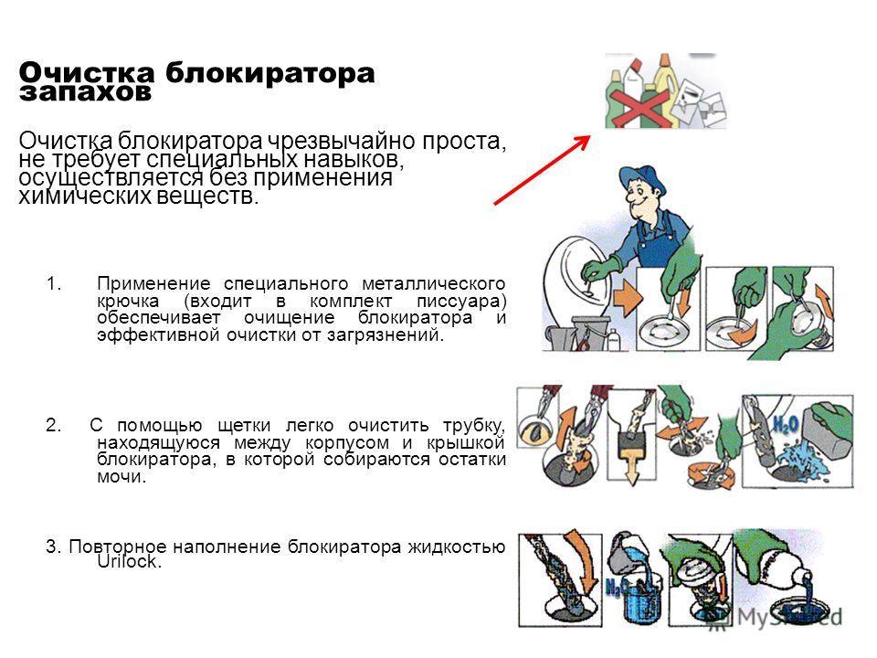 Очистка блокиратора запахов Очистка блокиратора чрезвычайно проста, не требует специальных навыков, осуществляется без применения химических веществ. 1. Применение специального металлического крючка (входит в комплект писсуара) обеспечивает очищение