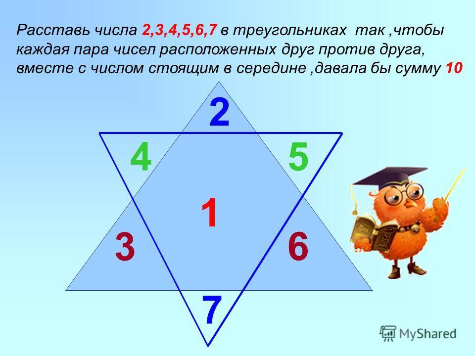 1 2 Расставь числа 2,3,4,5,6,7 в треугольниках так,чтобы каждая пара чисел расположенных друг против друга, вместе с числом стоящим в середине,давала бы сумму 10 7 45 3 6