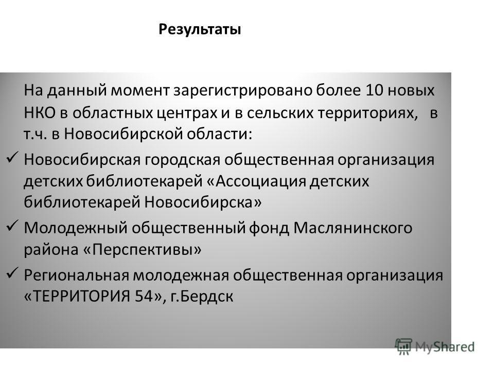 На данный момент зарегистрировано более 10 новых НКО в областных центрах и в сельских территориях, в т.ч. в Новосибирской области: Новосибирская городская общественная организация детских библиотекарей «Ассоциация детских библиотекарей Новосибирска»