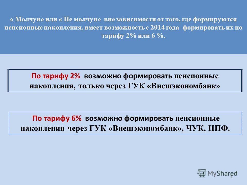 По тарифу 6% возможно формировать пенсионные накопления через ГУК «Внешэкономбанк», ЧУК, НПФ. « Молчун» или « Не молчун» вне зависимости от того, где формируются пенсионные накопления, имеет возможность с 2014 года формировать их по тарифу 2% или 6 %