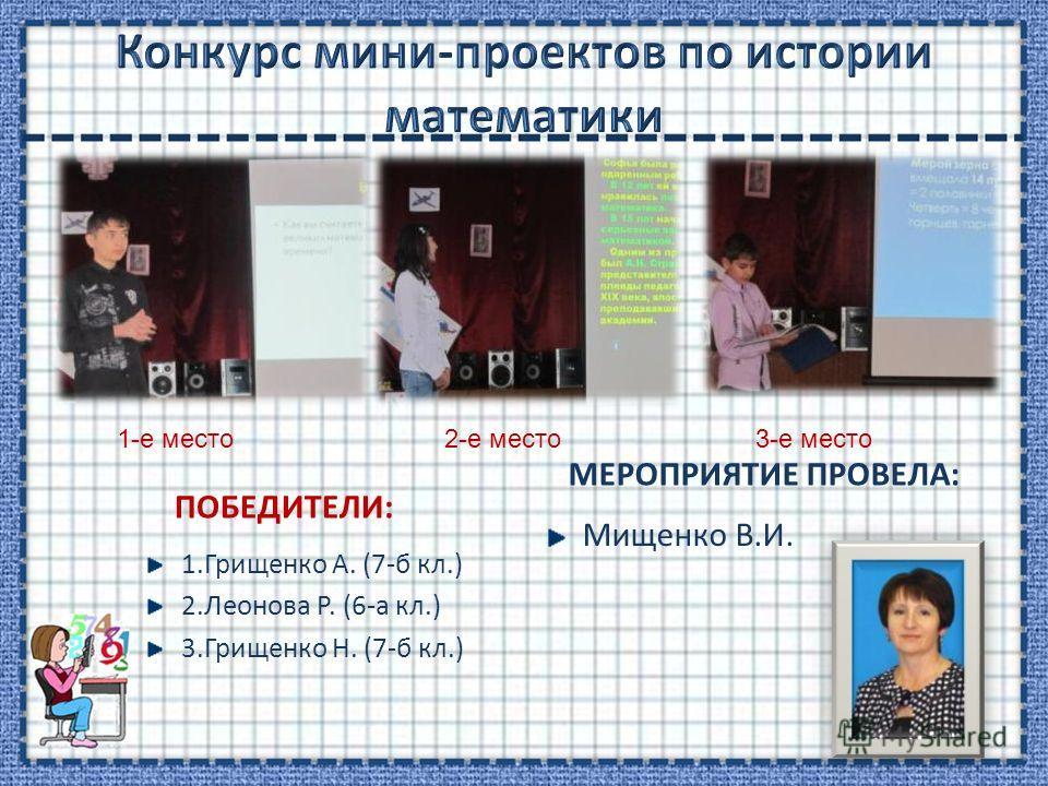 ПОБЕДИТЕЛИ: 1. Грищенко А. (7-б кл.) 2. Леонова Р. (6-а кл.) 3. Грищенко Н. (7-б кл.) МЕРОПРИЯТИЕ ПРОВЕЛА: Мищенко В.И. 1-е место 2-е место 3-е место