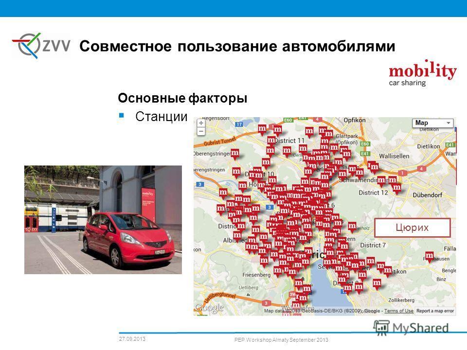 Основные факторы Станции Совместное пользование автомобилями 27.09.2013 PEP Workshop Almaty September 2013 Цюрих