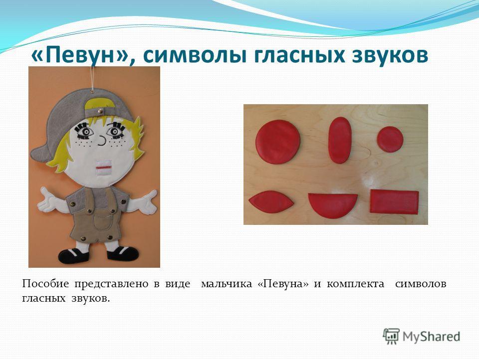 «Певун», символы гласных звуков Пособие представлено в виде мальчика «Певуна» и комплекта символов гласных звуков.