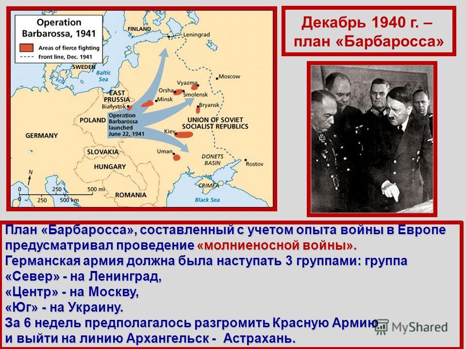 Декабрь 1940 г. – план «Барбаросса» План «Барбаросса», составленный с учетом опыта войны в Европе предусматривал проведение «молниеносной войны». Германская армия должна была наступать 3 группами: группа «Север» - на Ленинград, «Центр» - на Москву, «