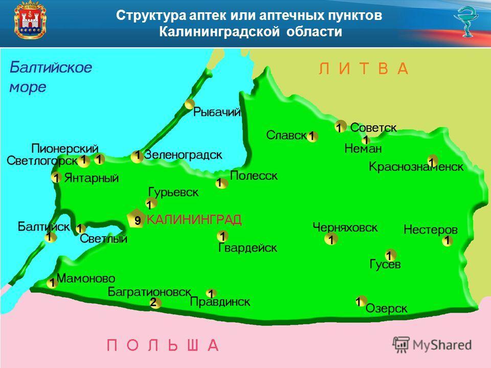 Структура аптек или аптечных пунктов Калининградской области 1 9 1 1 1 1 1 1 1 1 1 1 1 2 1 1 1 1 1 1 1
