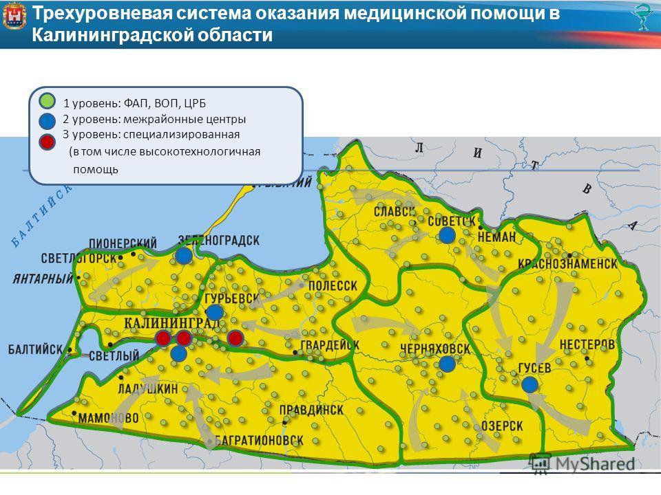 Трехуровневая система оказания медицинской помощи в Калининградской области 1 уровень: ФАП, ВОП, ЦРБ 2 уровень: межрайонные центры 3 уровень: специализированная (в том числе высокотехнологичная помощь