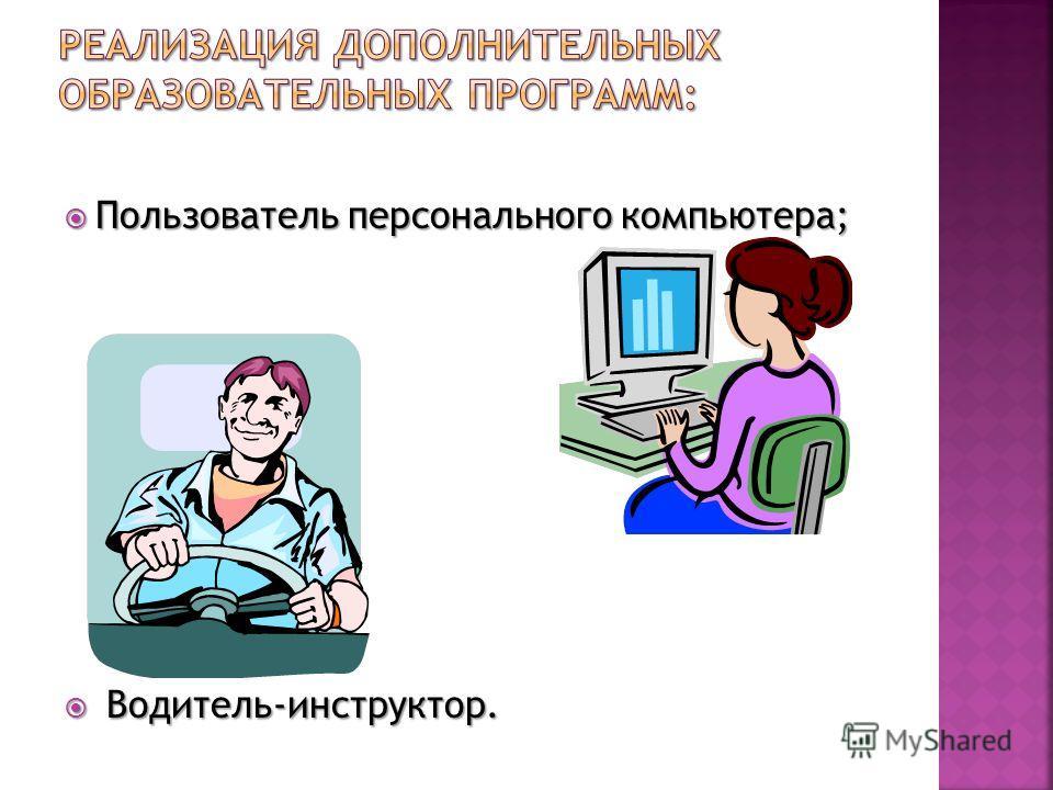 Пользователь персонального компьютера; Пользователь персонального компьютера; Водитель-инструктор. Водитель-инструктор.