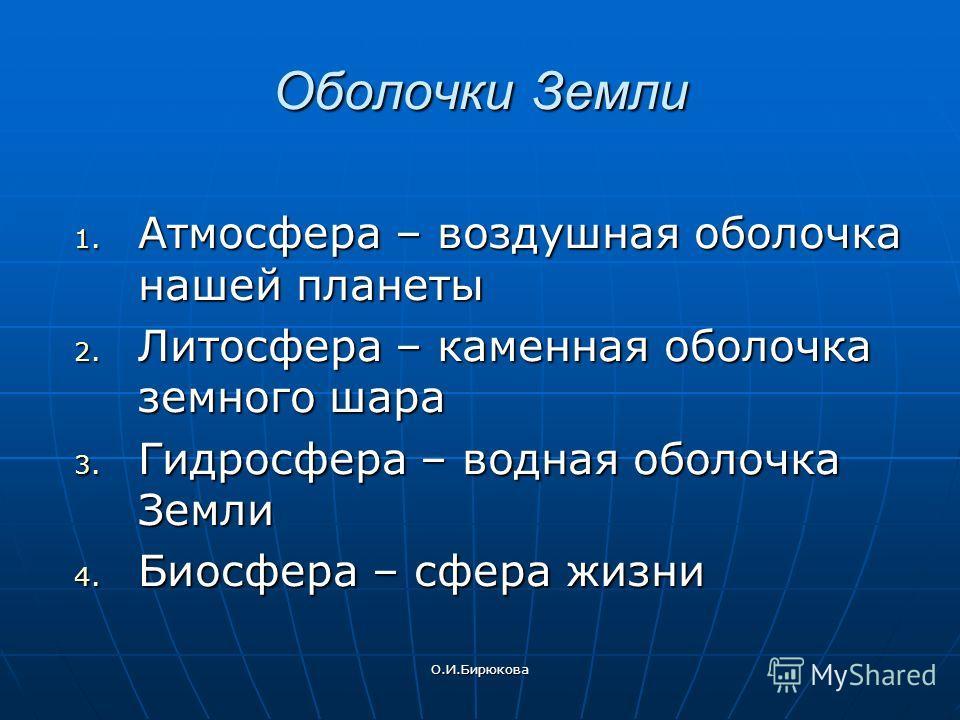 О.И.Бирюкова Оболочки Земли 1. Атмосфера – воздушная оболочка нашей планеты 2. Литосфера – каменная оболочка земного шара 3. Гидросфера – водная оболочка Земли 4. Биосфера – сфера жизни