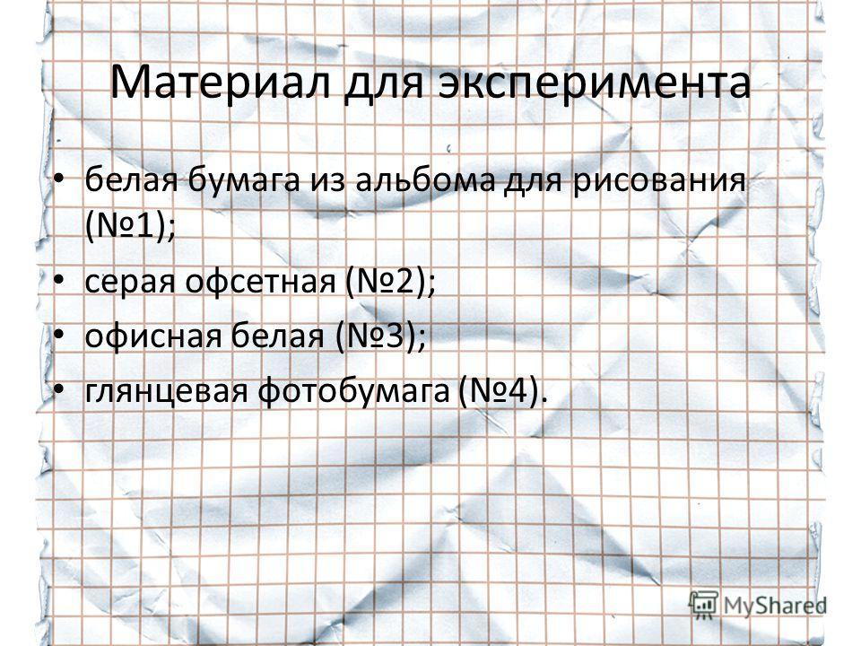Материал для эксперимента белая бумага из альбома для рисования (1); серая офсетная (2); офисная белая (3); глянцевая фотобумага (4).