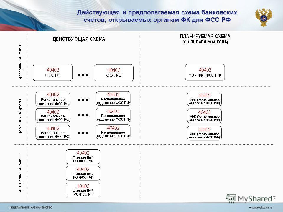 Действующая и предполагаемая схема банковских счетов, открываемых органам ФК для ФСС РФ 17