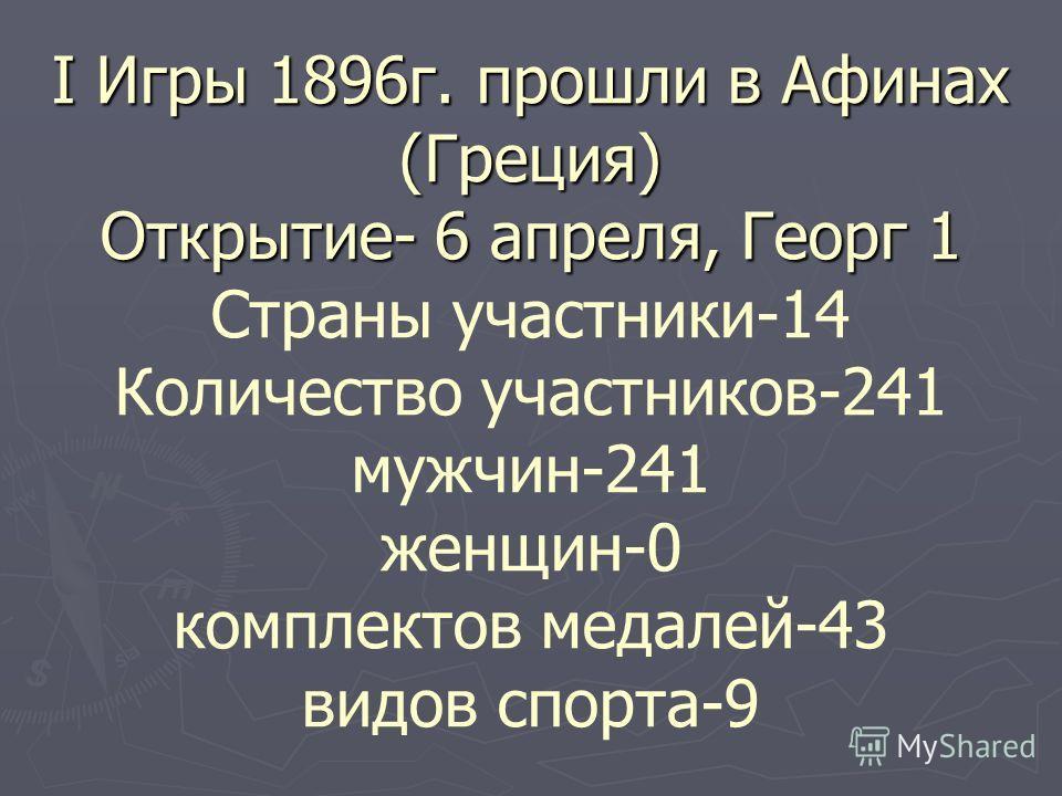 I Игры 1896 г. прошли в Афинах (Греция) Открытие- 6 апреля, Георг 1 I Игры 1896 г. прошли в Афинах (Греция) Открытие- 6 апреля, Георг 1 Страны участники-14 Количество участников-241 мужчин-241 женщин-0 комплектов медалей-43 видов спорта-9