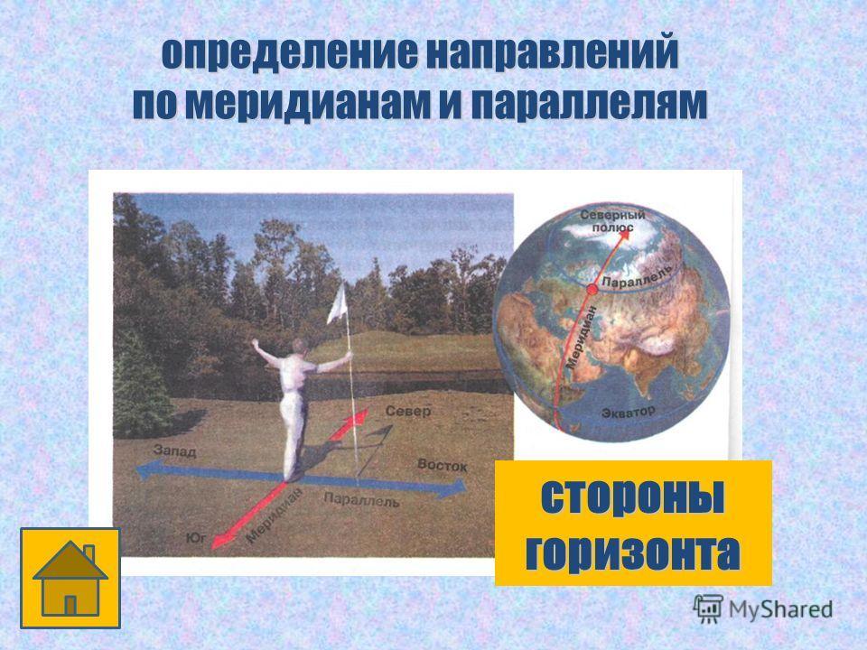 определение направлений по меридианам и параллелям стороны горизонта