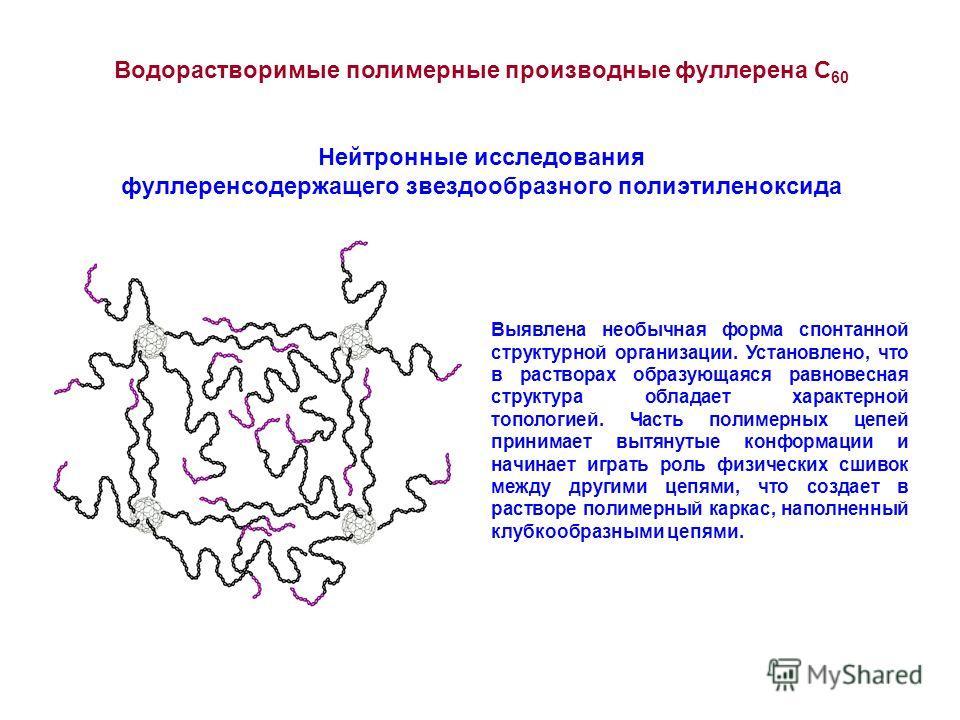 Водорастворимые полимерные производные фуллерена С 60 Нейтронные исследования фуллерен содержащего звездообразного полиэтиленоксида Выявлена необычная форма спонтанной структурной организации. Установлено, что в растворах образующаяся равновесная стр
