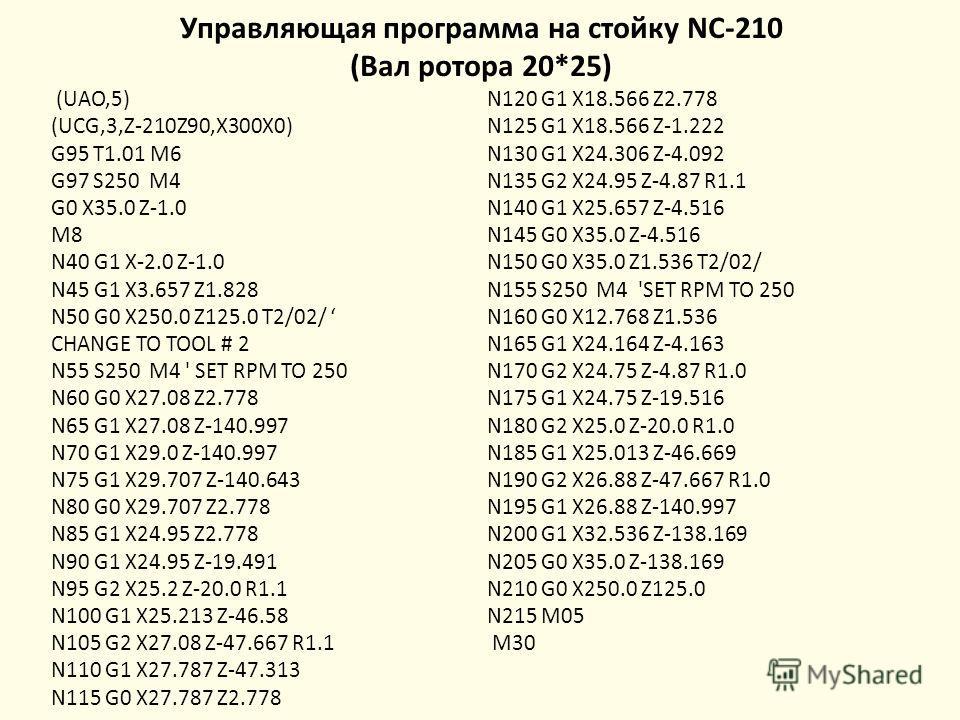 Управляющая программа на стойку NC-210 (Вал ротора 20*25) (UAO,5) (UCG,3,Z-210Z90,X300X0) G95 T1.01 M6 G97 S250 M4 G0 X35.0 Z-1.0 M8 N40 G1 X-2.0 Z-1.0 N45 G1 X3.657 Z1.828 N50 G0 X250.0 Z125.0 T2/02/ CHANGE TO TOOL # 2 N55 S250 M4 ' SET RPM TO 250 N