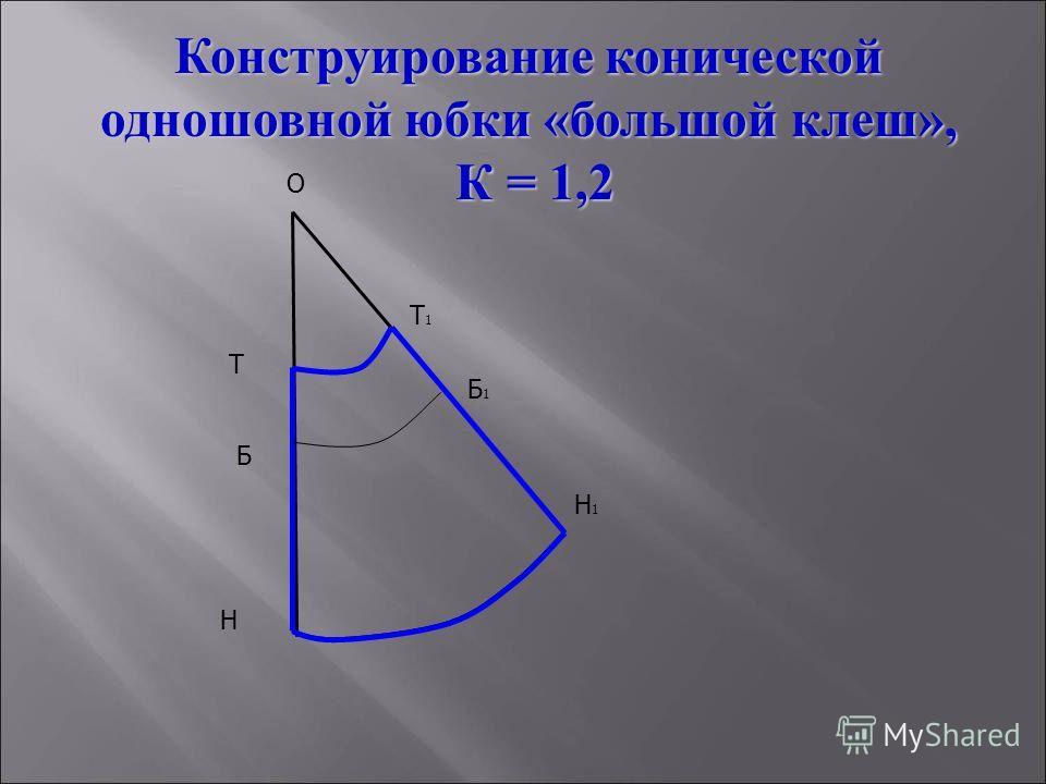 О Т Т1Т1 Н Н1Н1 Б Б1Б1 Конструирование конической одношовной юбки «большой клеш», К = 1,2