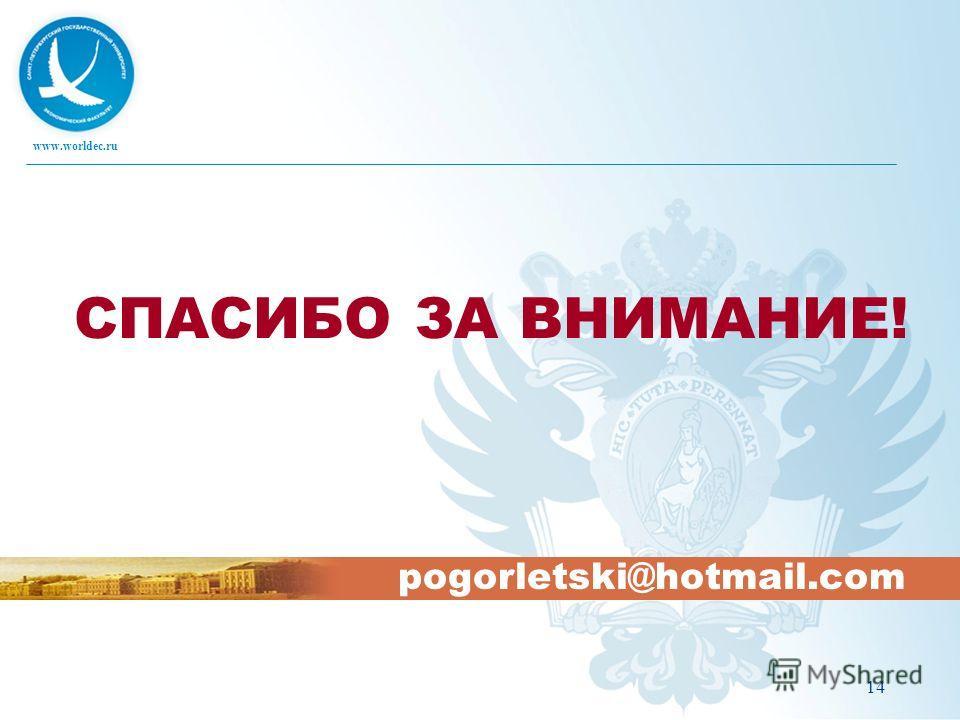 www.worldec.ru 14 СПАСИБО ЗА ВНИМАНИЕ! pogorletski@hotmail.com