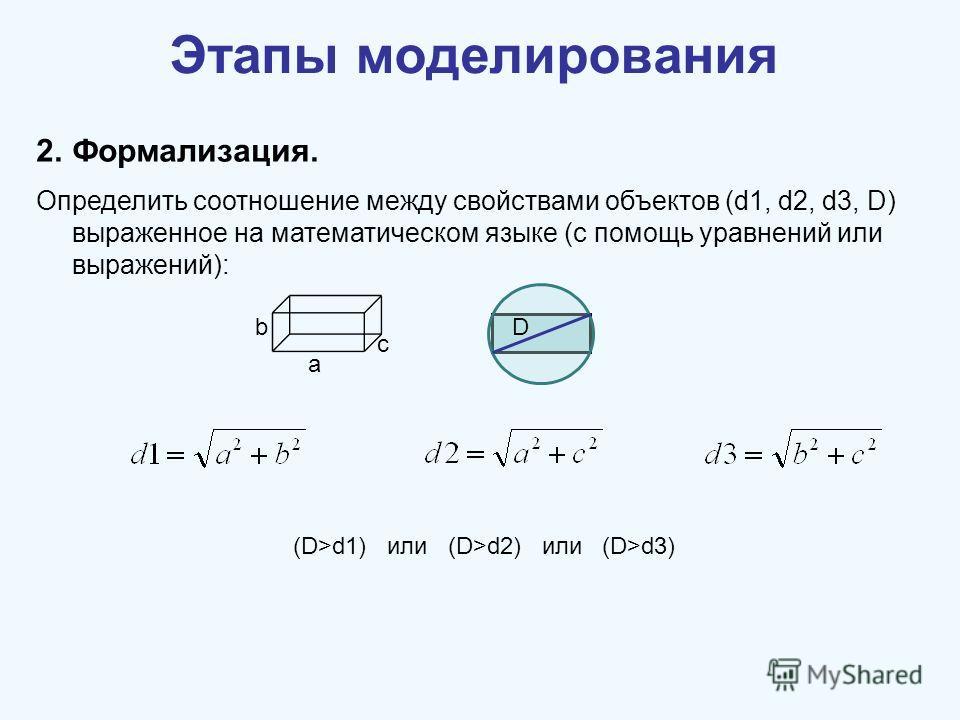Этапы моделирования 2.Формализация. Определить соотношение между свойствами объектов (d1, d2, d3, D) выраженное на математическом языке (с помощь уравнений или выражений): (D>d1) или (D>d2) или (D>d3) а b c D