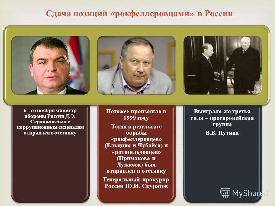 6 –го ноября министр обороны России Д.Э. Сердюков был с коррупционным скандалом отправлен в отставку Похожее произошло в 1999 году Тогда в результате борьбы «рокфеллерровцев» (Ельцина и Чубайса) и «ротшильдовцев» (Примакова и Лужкова) был отправлен в