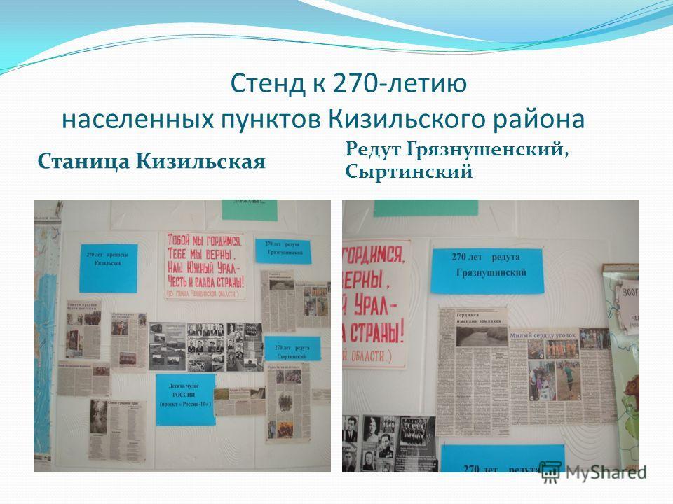 Стенд к 270-летию населенных пунктов Кизильского района Станица Кизильская Редут Грязнушенский, Сыртинский