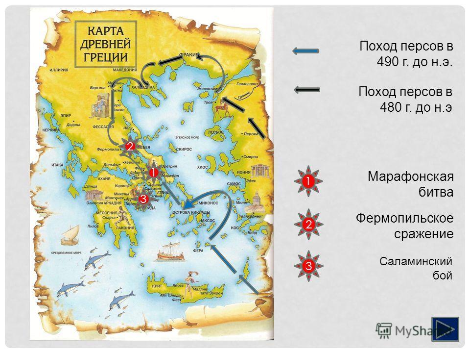 Поход персов в 490 г. до н.э. 1 Поход персов в 480 г. до н.э 2 3 1 3 2 Марафоневская битва Фермопильское сражение Саламинский бой