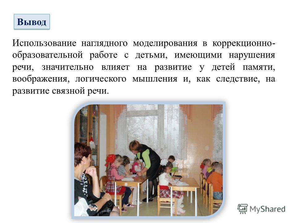 Вывод Использование наглядного моделирования в коррекционно- образовательной работе с детьми, имеющими нарушения речи, значительно влияет на развитие у детей памяти, воображения, логического мышления и, как следствие, на развитие связной речи.