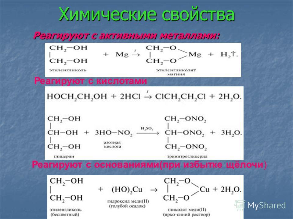 Химические свойства Реагируют с активными металлами: Реагируют с активными металлами: Реагируют с кислотами Реагируют с основаниями(при избытке щёлочи) гидроксидом меди(II).