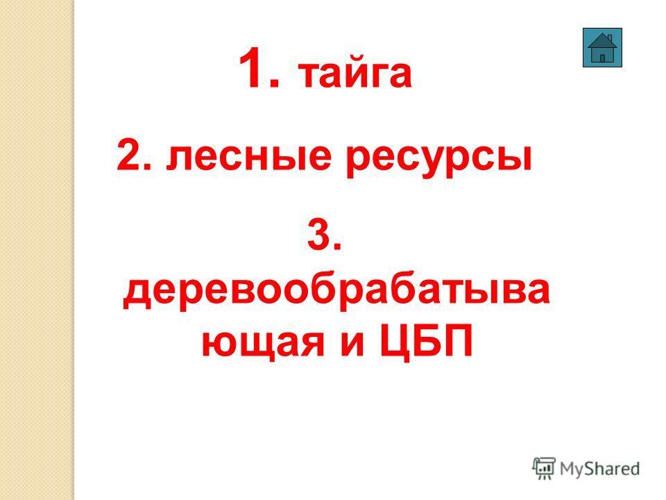1. тайга 2. лесные ресурсы 3. деревообрабатывающая и ЦБП
