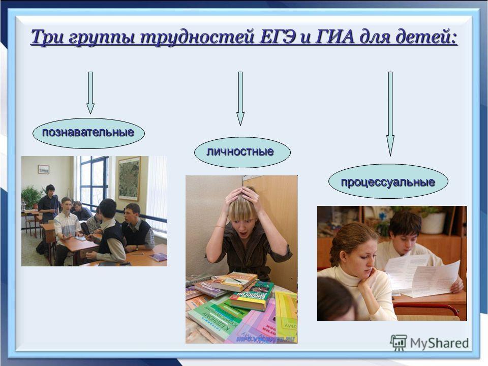 Три группы трудностей ЕГЭ и ГИА для детей: познавательные личностные процессуальные
