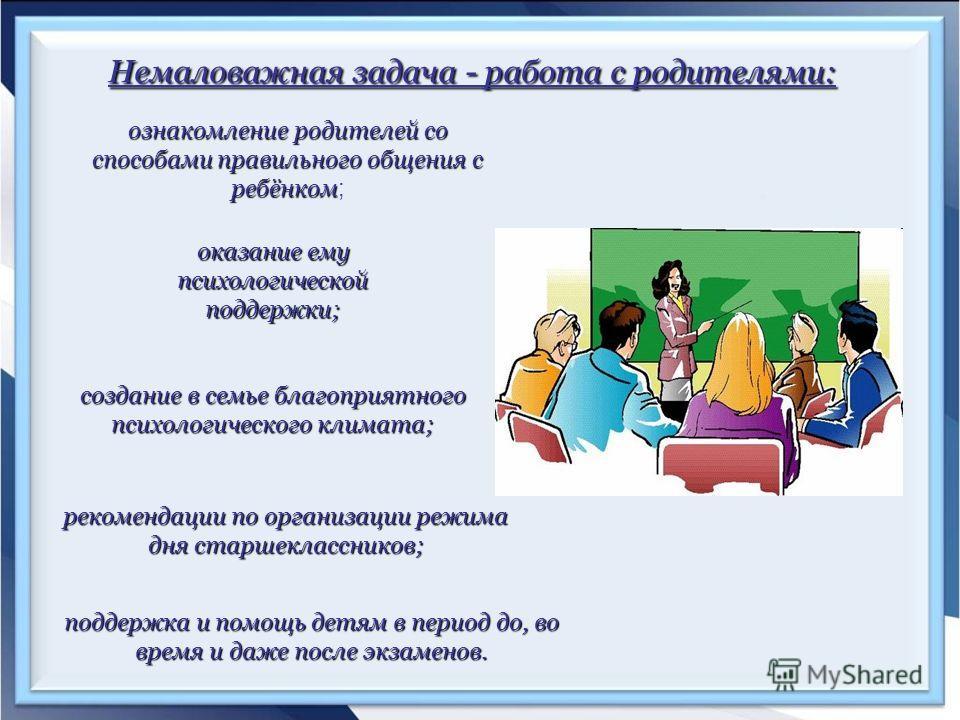 Немаловажная задача - работа с родителями: ознакомление родителей со способами правильного общения с ребёнком ознакомление родителей со способами правильного общения с ребёнком ; оказание ему психологической поддержки; создание в семье благоприятного