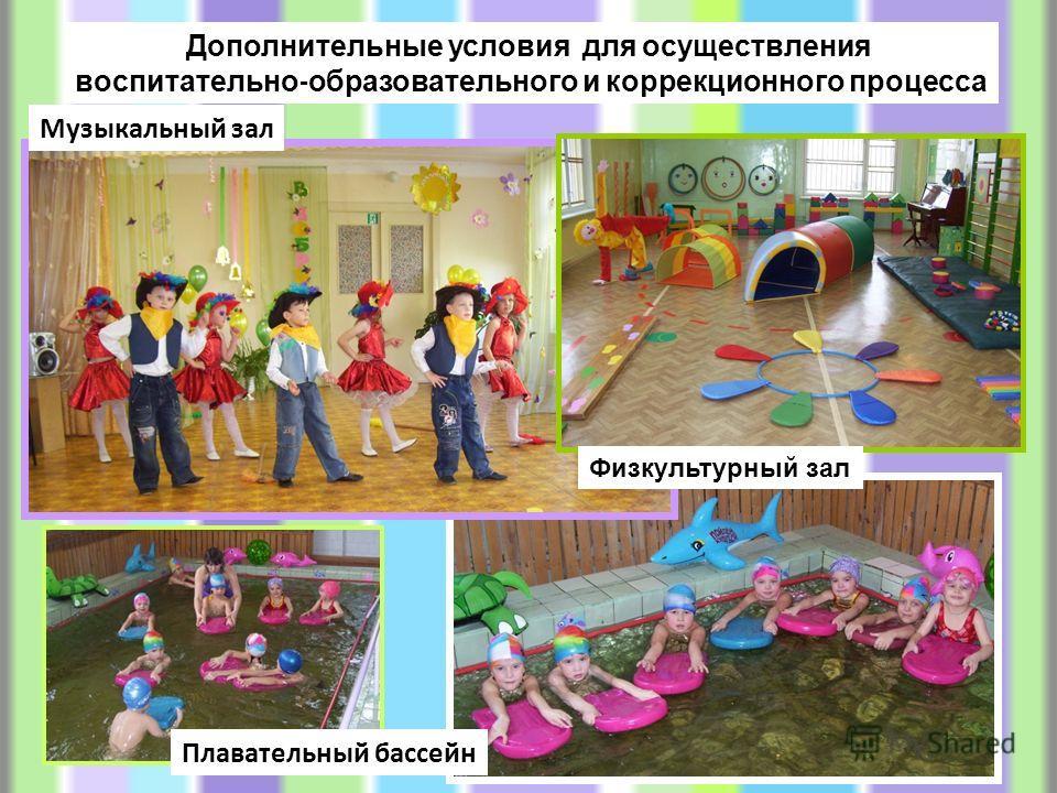 Дополнительные условия для осуществления воспитательно - образовательного и коррекционного процесса Музыкальный зал Физкультурный зал Плавательный бассейн