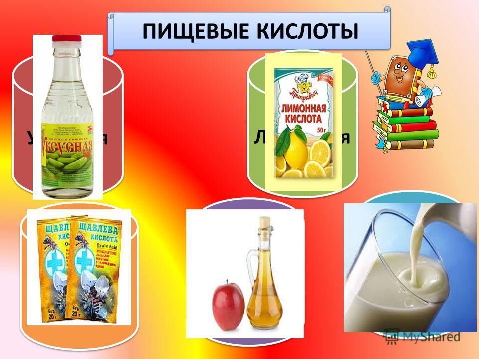 ПИЩЕВЫЕ КИСЛОТЫ Уксусная Щавелевая Яблочная Лимонная Молочная