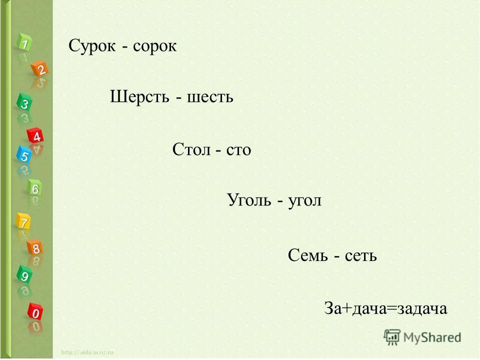 Сурок - сорок Шерсть - шесть Стол - сто Уголь - угол Семь - сеть За+дача=задача