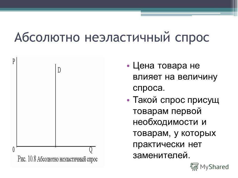 Абсолютно неэластичный спрос Цена товара не влияет на величину спроса. Такой спрос присущ товарам первой необходимости и товарам, у которых практически нет заменителей.