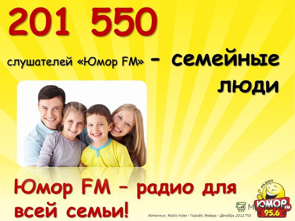 201 550 слушателей «Юмор FM» - семейные люди Юмор FM – радио для всей семьи! Источник: Radio Index - Города. Январь - Декабрь 2012 TNS