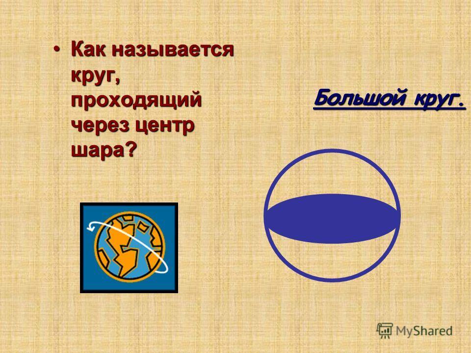 Как называется круг, проходящий через центр шара?Как называется круг, проходящий через центр шара? Большой круг. Большой круг.